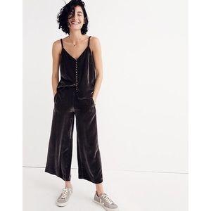 Madewell Women's Gray Velvet Pull On Cropped Pants